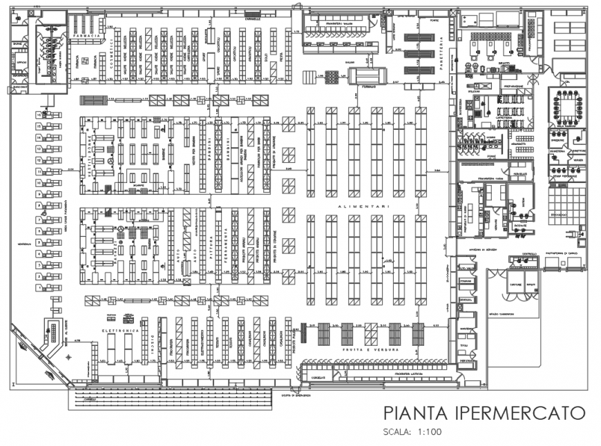 Supermarket layout plan in dwg AutoCAD file.