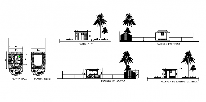 Surveillance box of house elevation, section and plan details dwg file