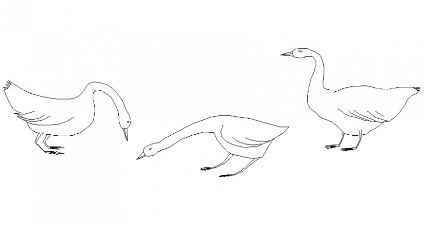 Swan in standing position in block of AutoCAD file