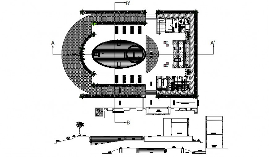 Swimming area plan and sectional details autocad file
