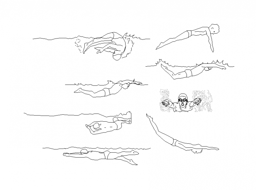 Swimming people detail elevation CAD block 2d view dwg file