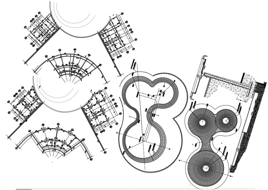 Swimming pool of restaurant foundation plan, plan and structure details dwg file