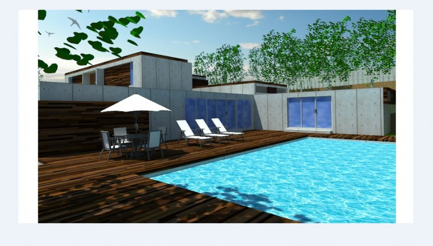 Swimming pool of villa 3d model cad drawing details jpg file