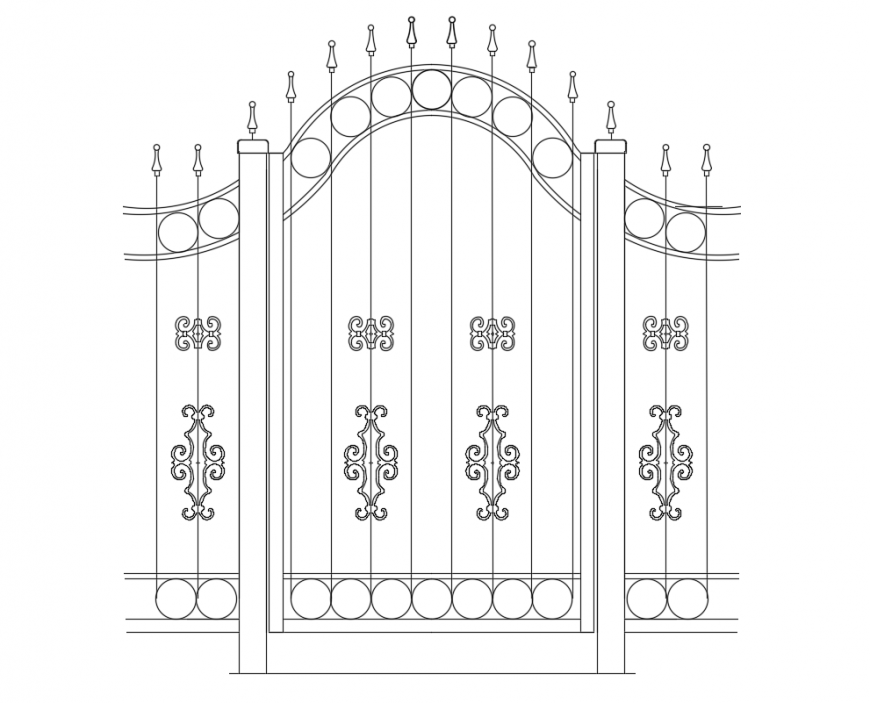Swing and Slide Forged gate detail dwg file