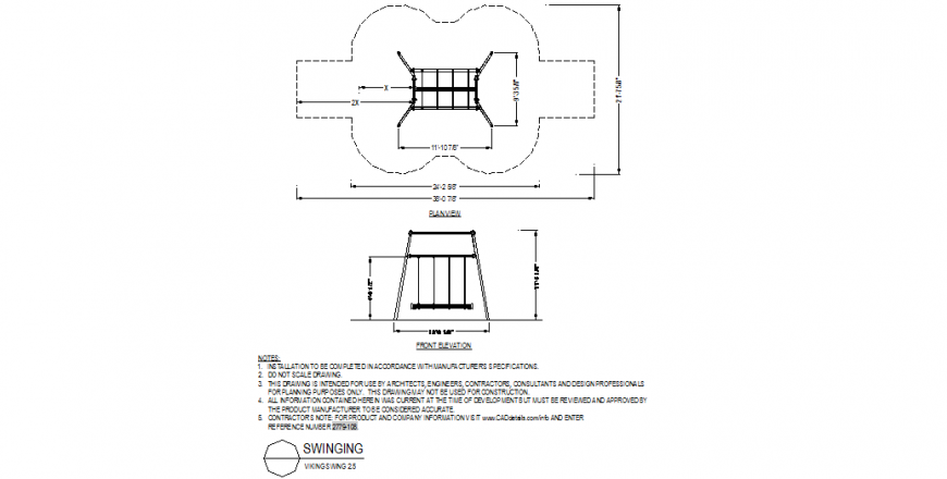 Swinging structure plan and elevation detail layout file