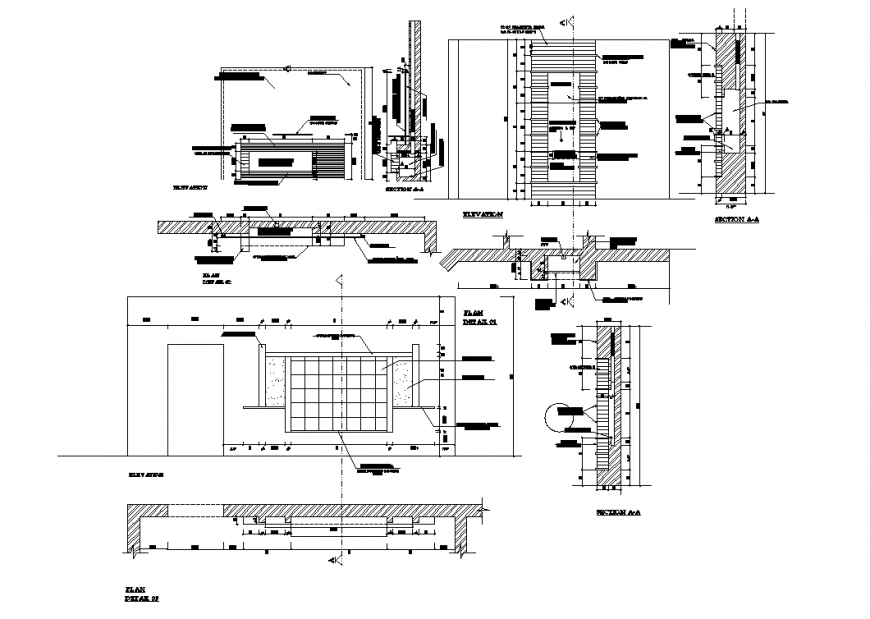 T.V unit elevation and section plan layout file