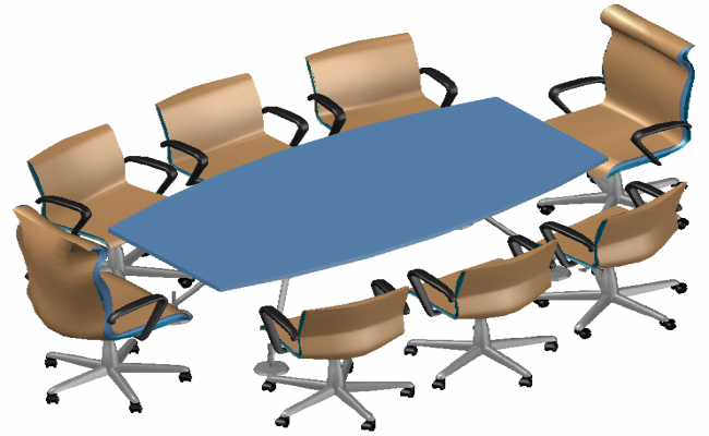 table and office chairs inj dwg file