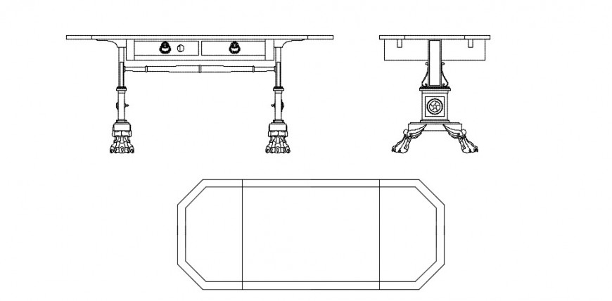 Table 2d elevation , traditional design detail dwg file