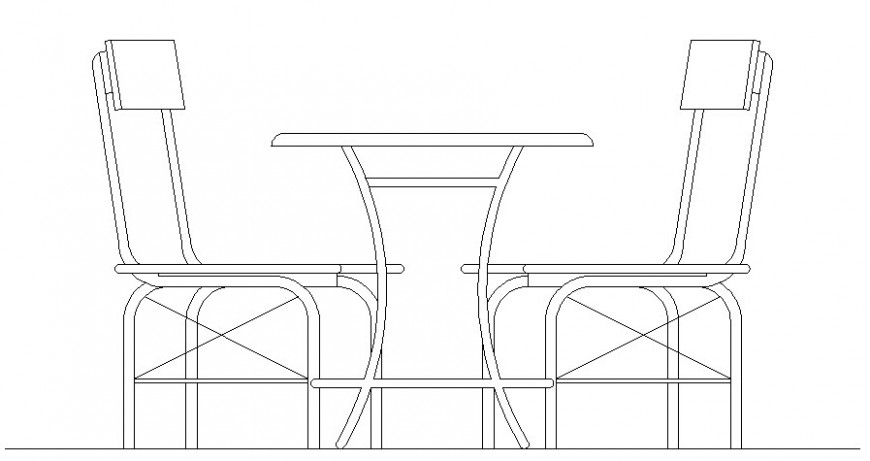 Table and two seater chair elevation drawing in autocad