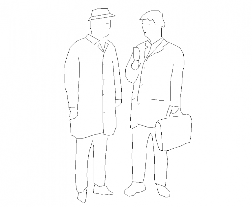 Talking people detail elevation 2d view layout file
