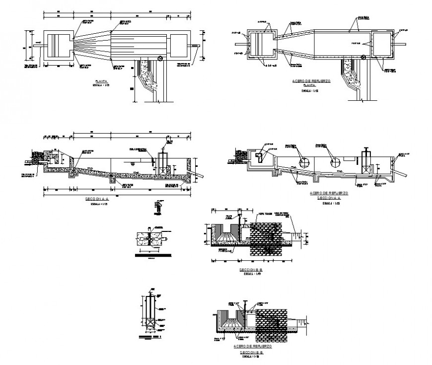 Tank and orifice mouth opening detail 2d view CAD constructive block autocad file