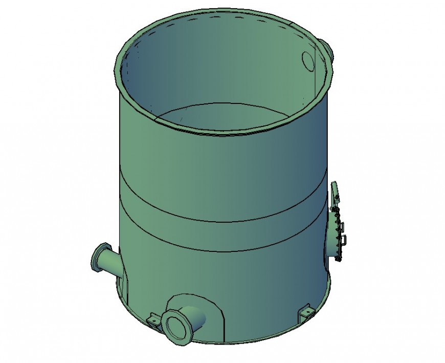 Tank detail 3d model layout CAD structural block file in dwg format