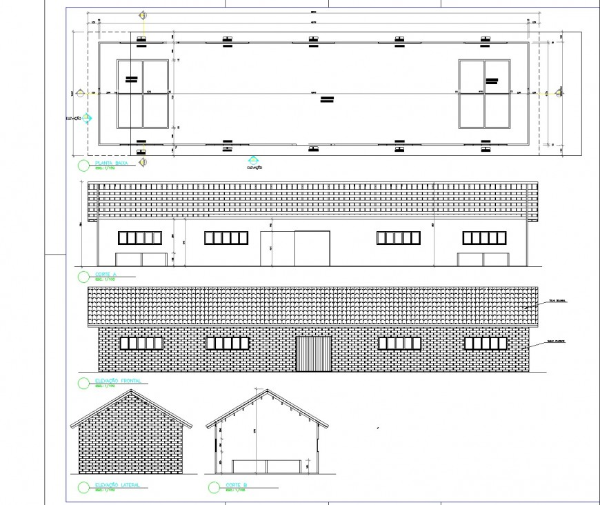 Tannery leather prosecution plan, elevation and section detail dwg file