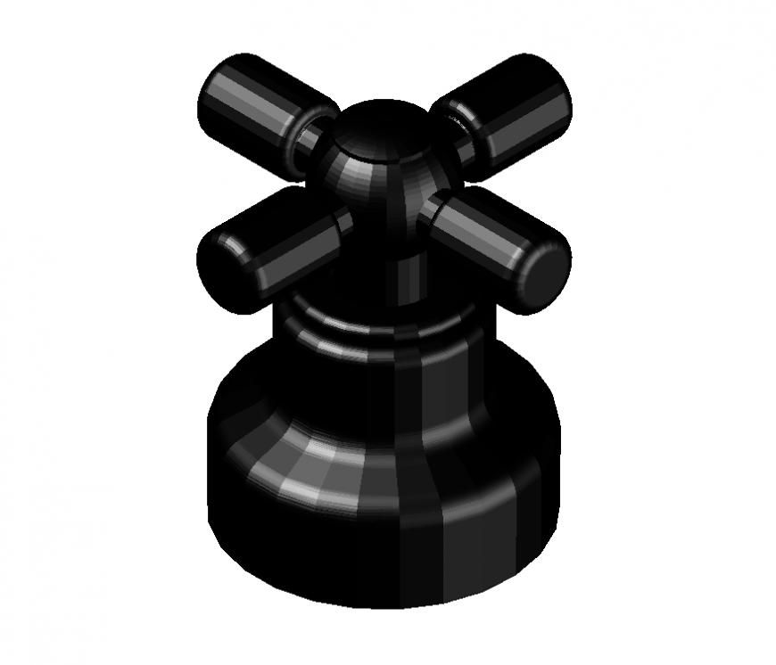 Tap valve detail elevation 3d model layout autocad file