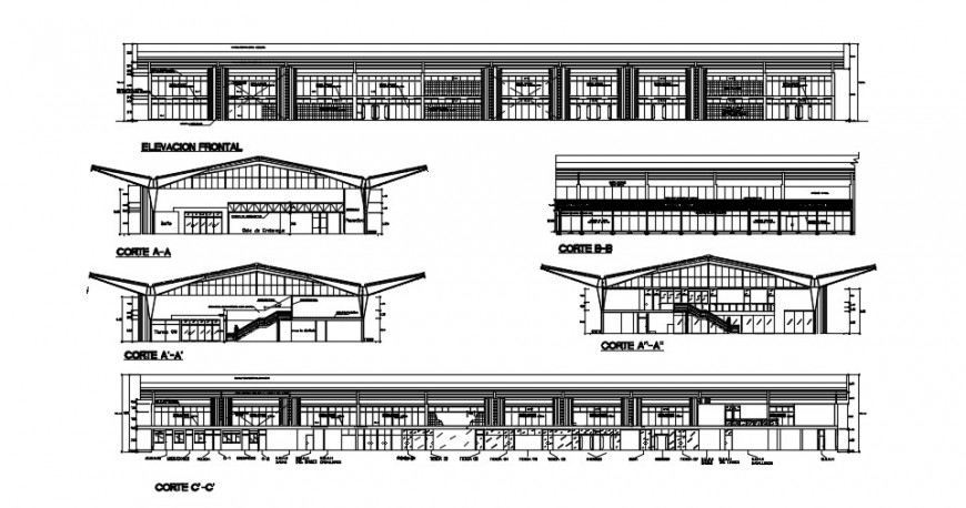 Tarapoto city airport building elevations and section drawing details dwg file