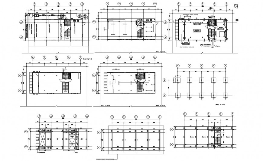 Tassan house floor framing plan and staircase cad drawing details dwg file