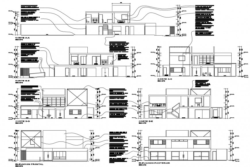 Technical institute all sided elevation and section 2d drawing details dwg file