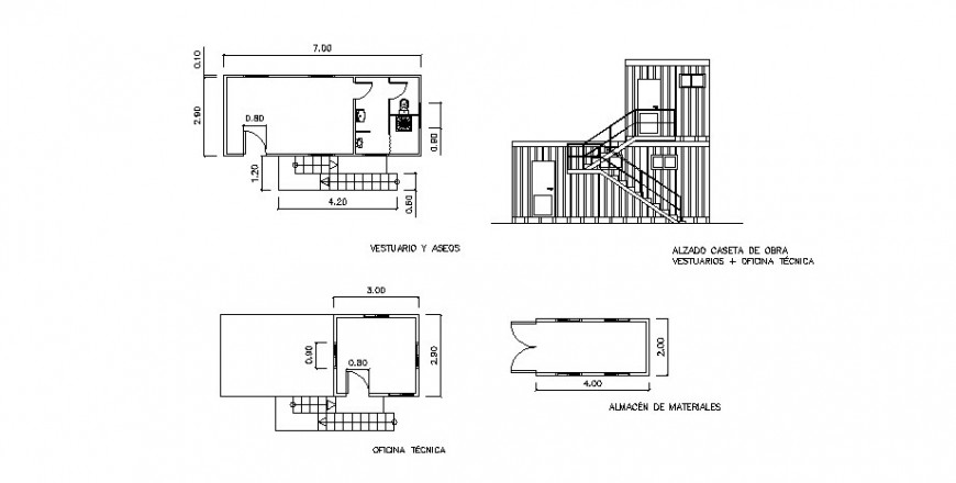 Technical office section, framing plan and auto-cad drawing details dwg file