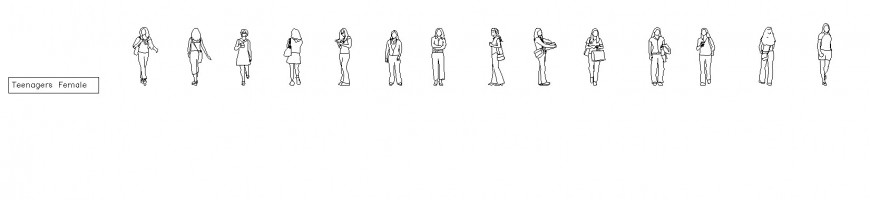 Teenagers girl CAD block 2d view layout file in autocad format