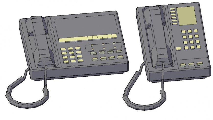 Telephone and fax machine 3d block drawing details dwg file
