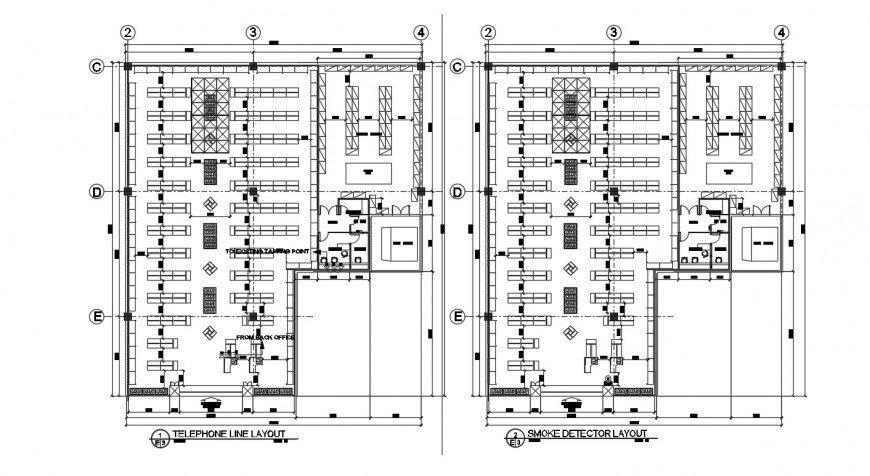 Telephone line layout plan with smoke detector details in autocad file