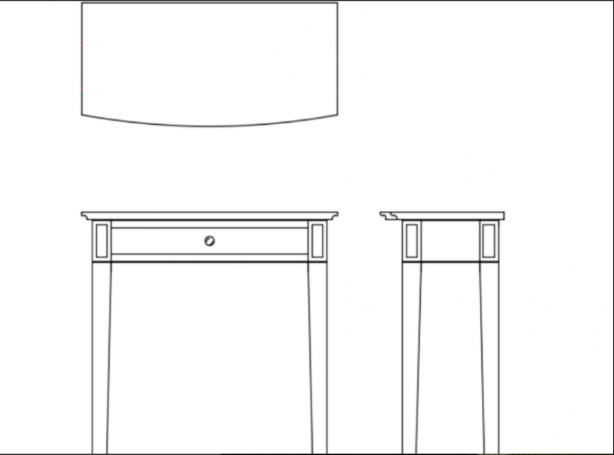 Telephone table front view and top view plan