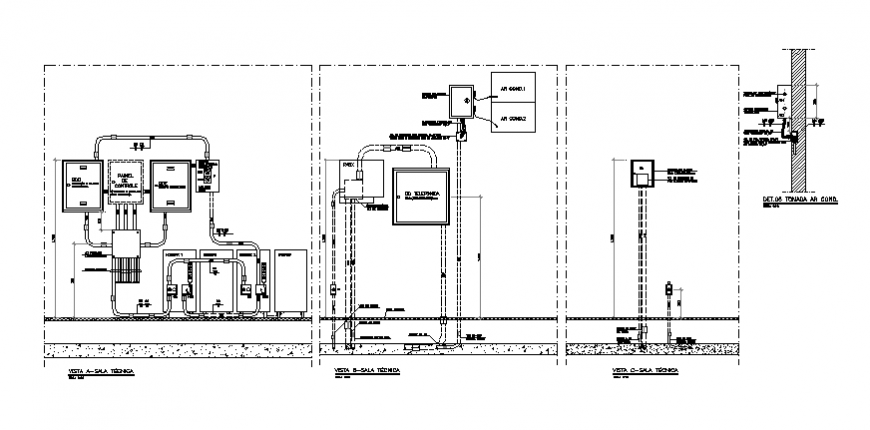Telephone wiring technical vertical detail drawing in dwg file.