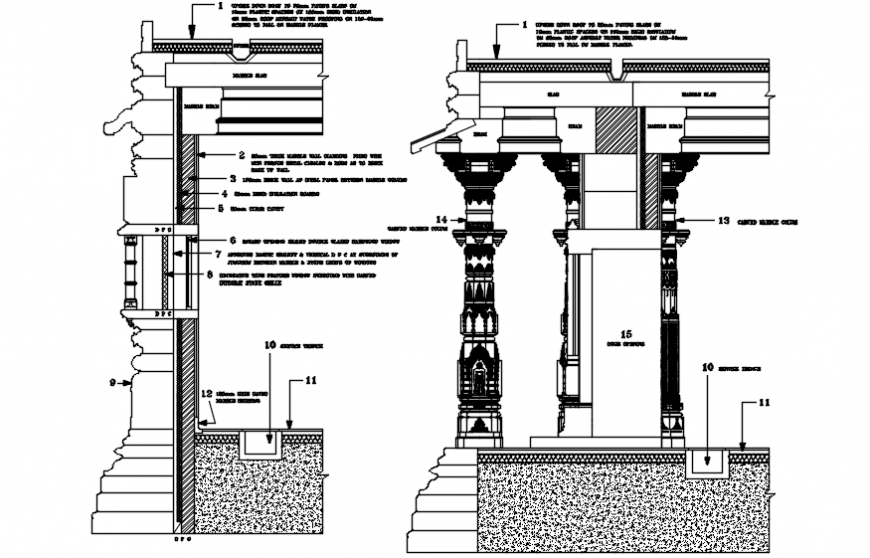 Temple carving sectional detail model