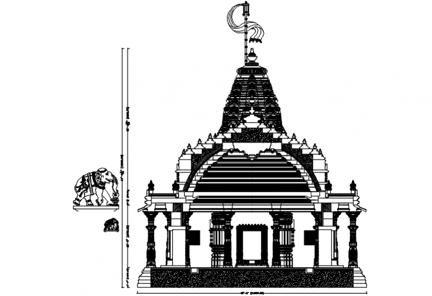 Temple main Cut frontal elevation cad drawing details dwg file