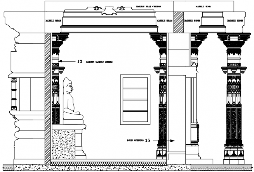 Temple main sculpture area constructive section drawing details dwg file