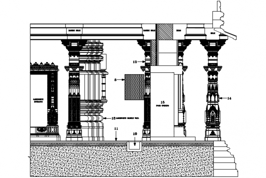 Temple side section and structure drawing details dwg file