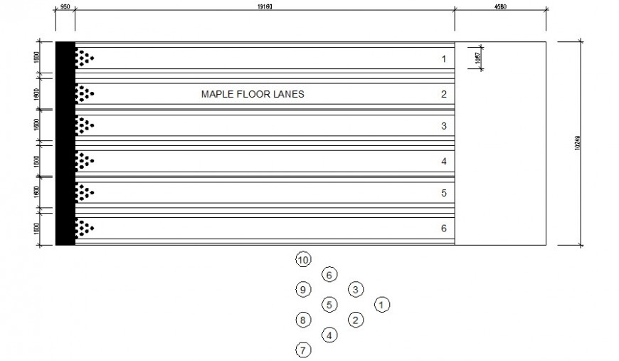 Ten pin Bowling details plan 2d drawing in autocad