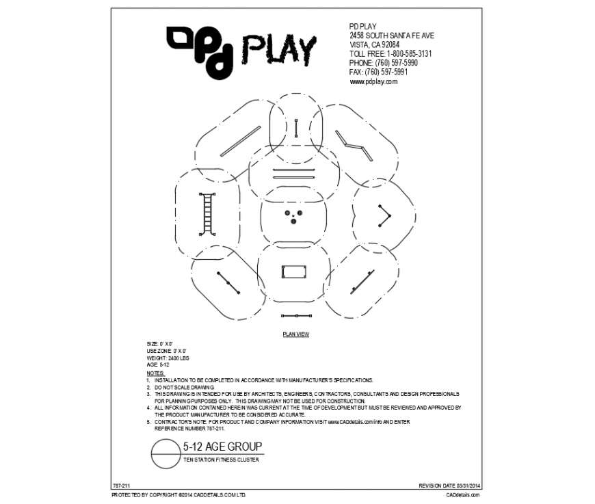 Ten station fitness cluster play equipment cad drawing details dwg file