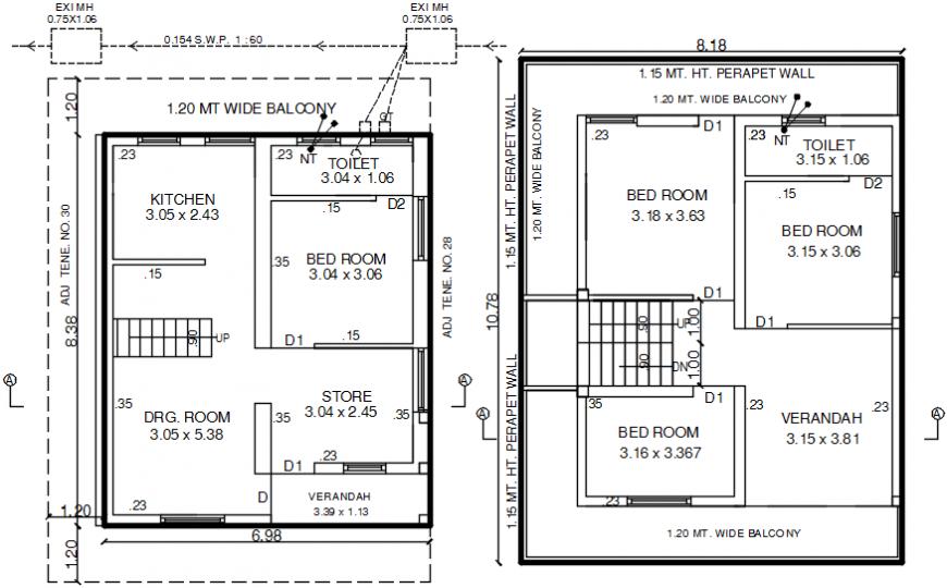 Tenement house floor distribution plan cad drawing details dwg file