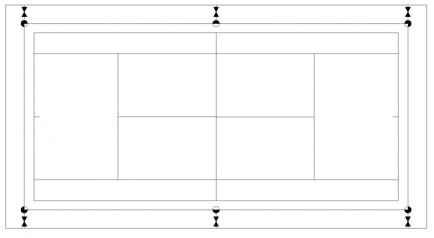 Tennis court setting out layout plan in dwg AutoCAD file.