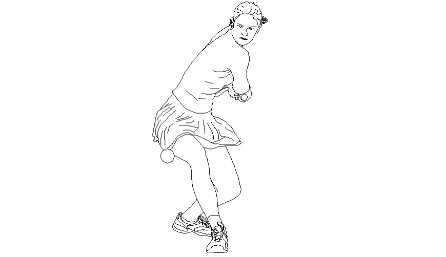 Tennis women player in playing position block of people dwg file