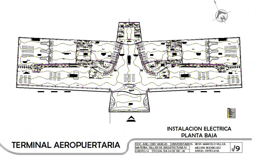 Terminal building of airport 2d view CAD block layout file in autocad format