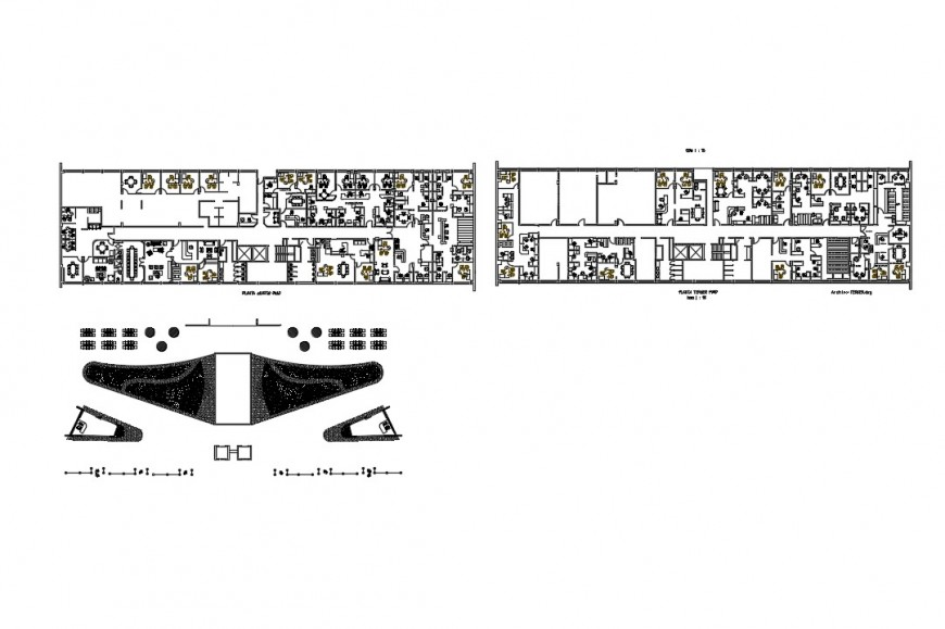 Terminal building plan with amenities detail 2d view layout file in autocad format