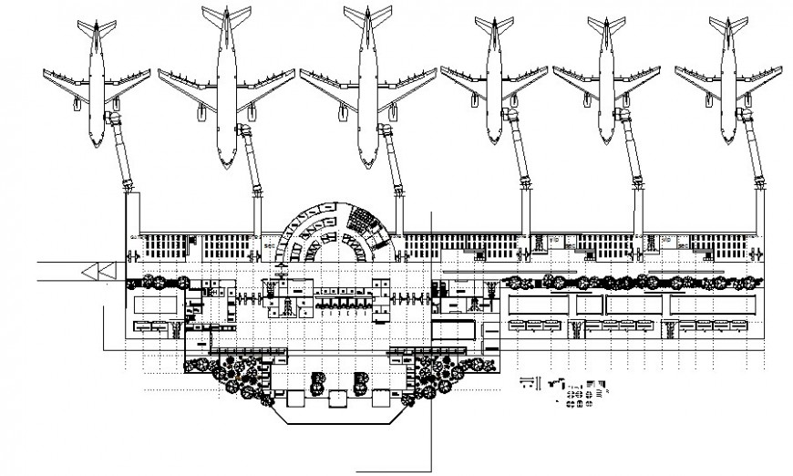 Terminal building work plan details drawing in autocad