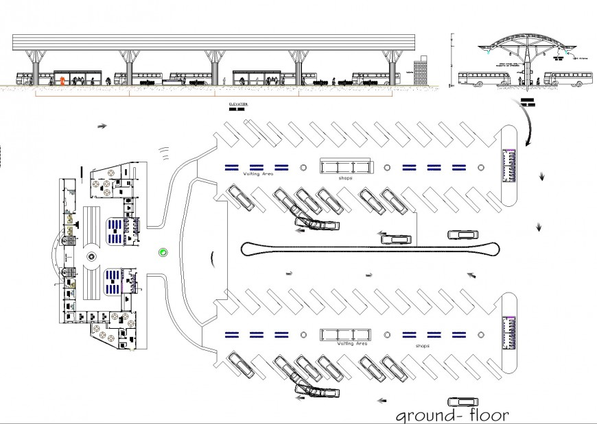 Terminal project rodovia plan, elevation and section autocad file
