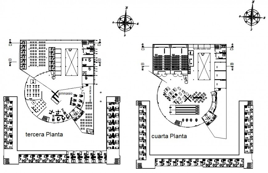 Terrace and floor plan of commercial Centre plan in autocade