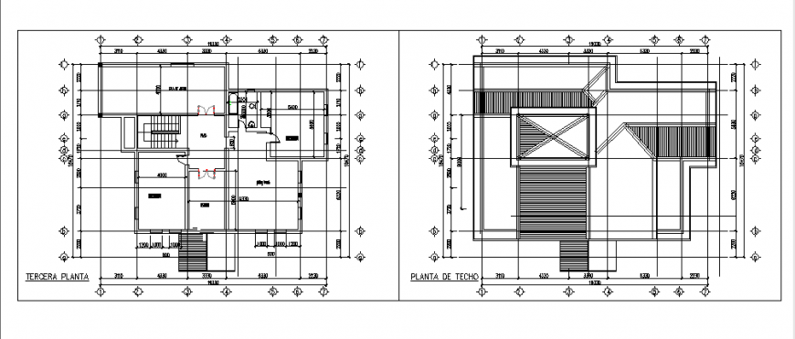 Terrace Layout of Single family home residence design drawing