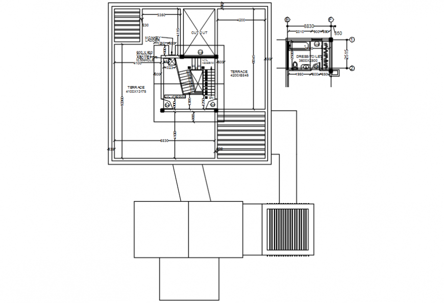 Terrace layout plan with sanitary installation of house cad drawing details dwg file