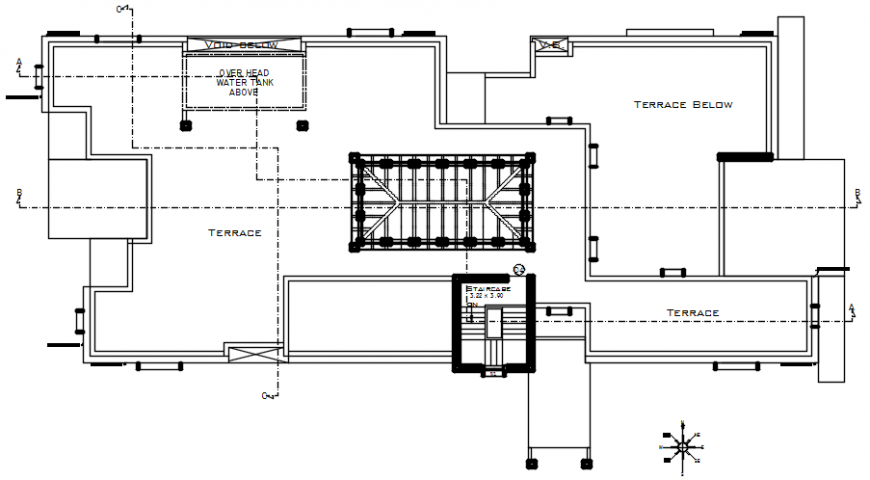 Terrace plan of house in AutoCAD file