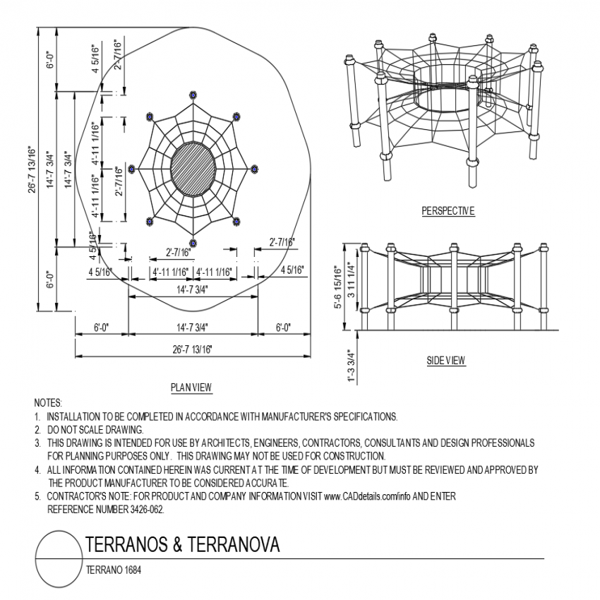 Terran polygon shape plan with side view with perspective view dwg file
