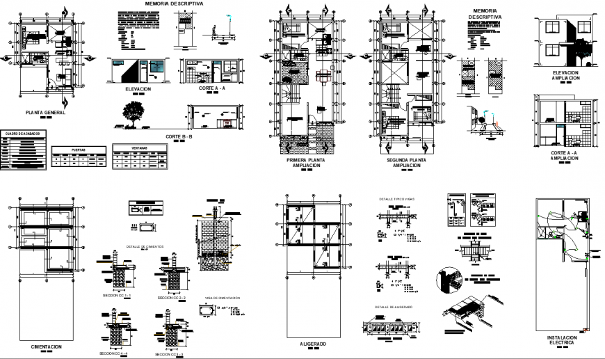 The 2D house plan & detail dwg file.