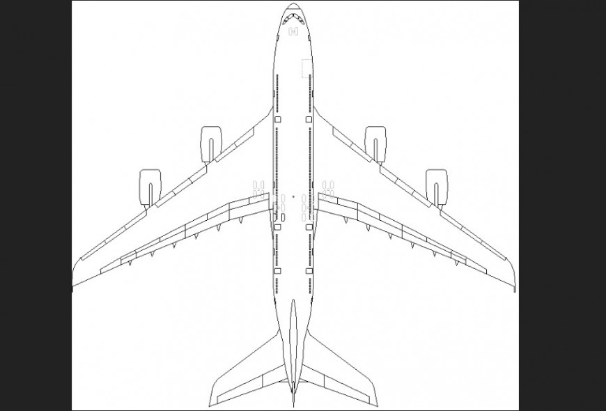 The air-plane plan detailing  dwg file.