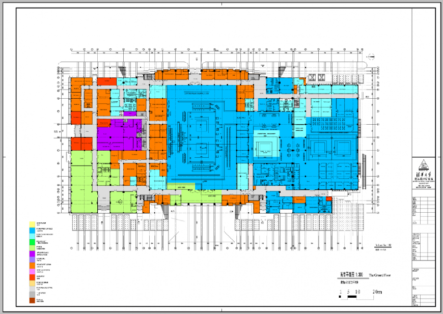 The architecture layout plan details of corporate office building dwg file