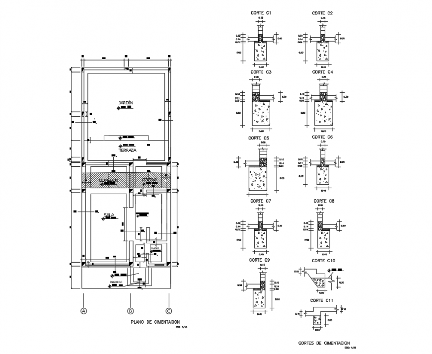The Architecture Single house foundation dwg file