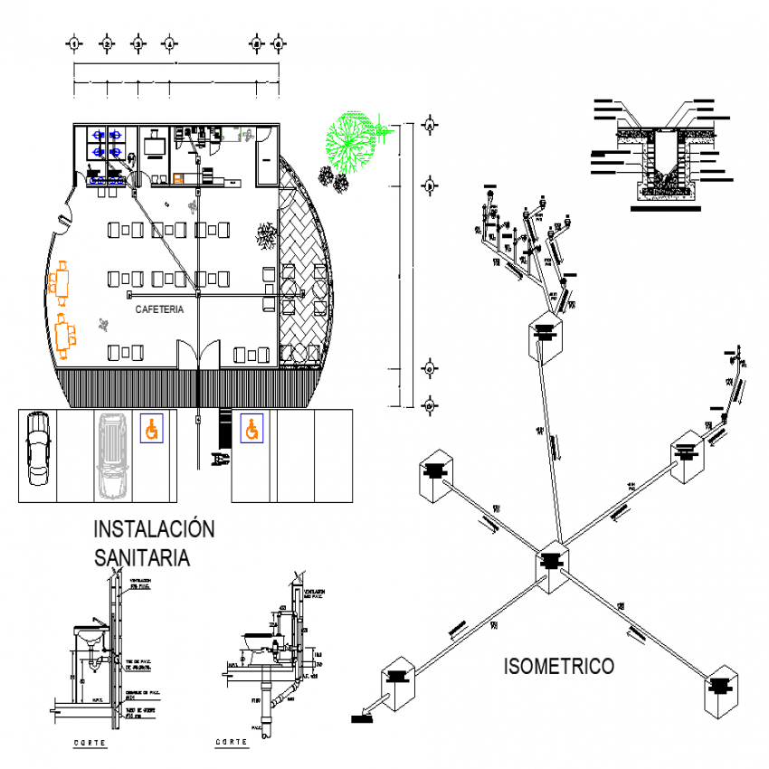 The cafeteria plan with detail dwg file.